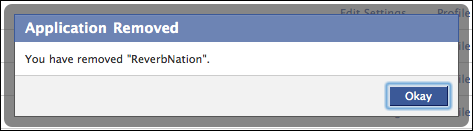 facebook settings application authorized reverbnation removed