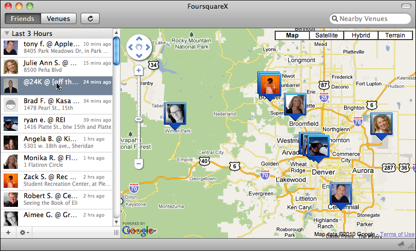 foursquarex friend locations