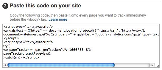 google analytics paste code