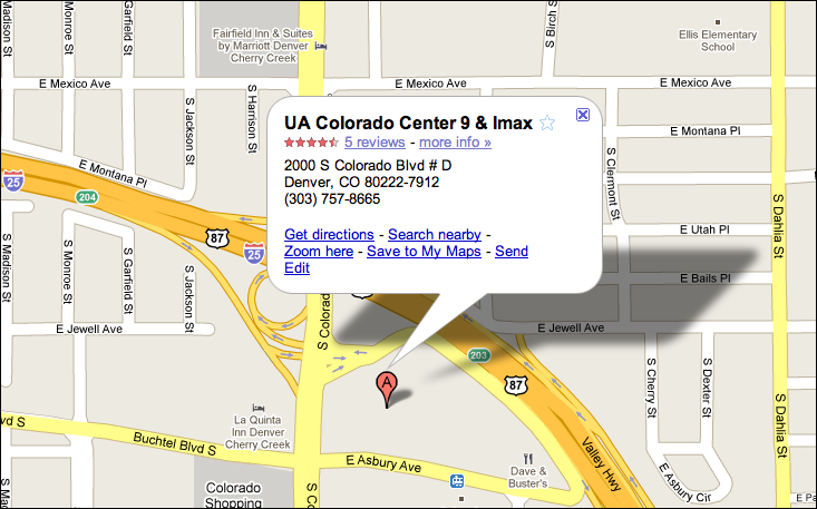 google map ua colorado center. I can hide the little information balloon and