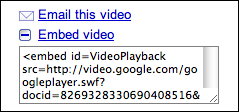 google video sharing embed video open