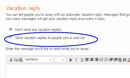 hotmail send vacation replies