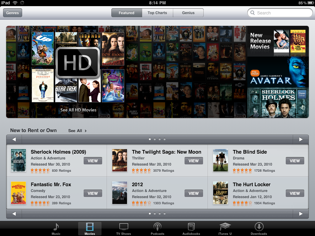 ipad itunes movies