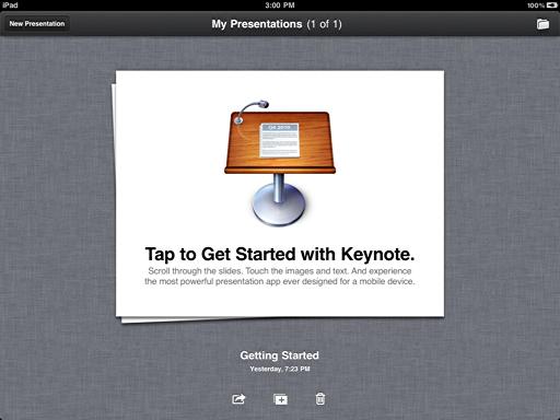 ipad keynote getting started