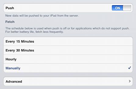 ipad mail settings push