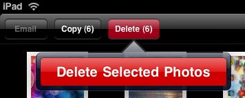 ipad photos delete selected photos