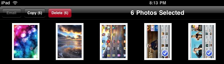 ipad photos multiple photos selected