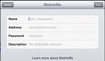 ipad settings mail add mobile me mobileme