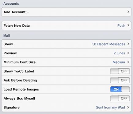 ipad settings mail contacts calendar config