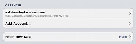 ipad settings mail mobileme setup