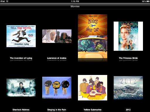 ipad videos movie list