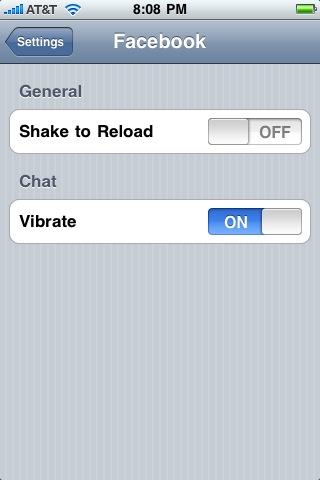 iphone facebook app settings