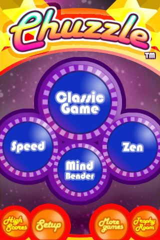 iphone popcap chuzzle main menu