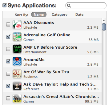 itunes iphone apps sync list