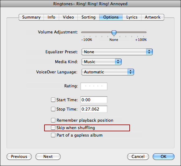 itunes omit song shuffle mode 3