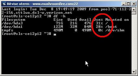 linux disk space df output