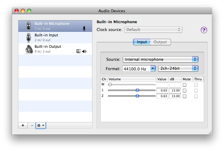Connect the microphone to your computers audio input port (if it has one), then choose Built-in Input as the tracks input source.