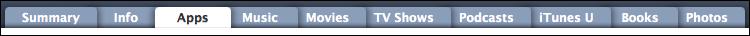 mac itunes ipad tab menu apps