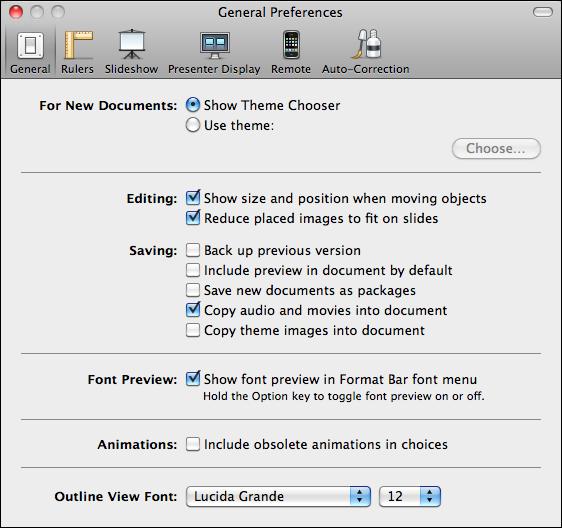 mac keynote preferences