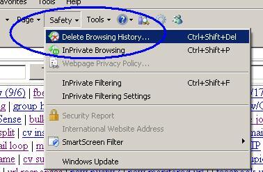 msie8 menu delete browsing history