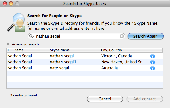 skype friend search results