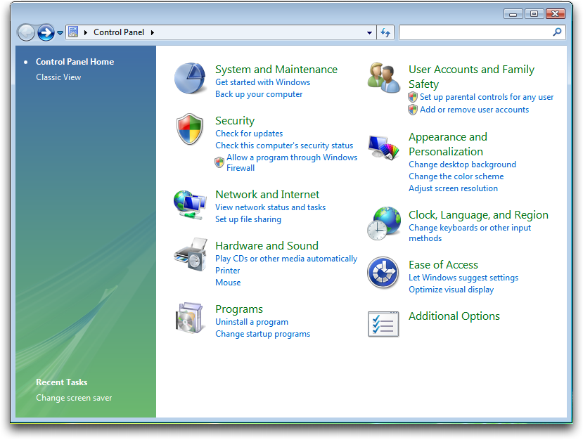 windows vista control panel