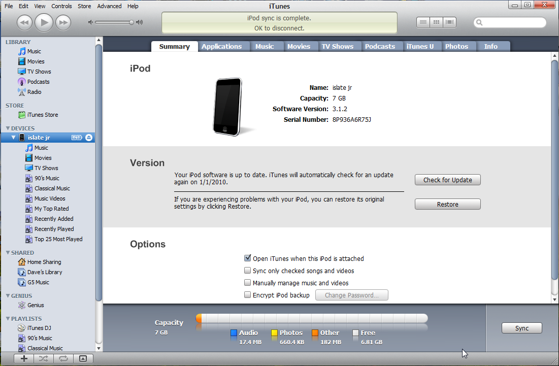 windows vista ipod touch synced empty