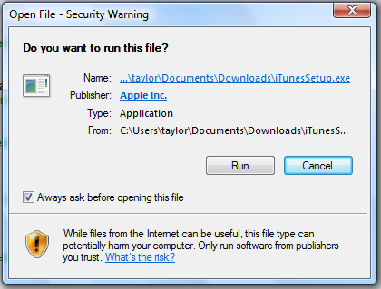 windows vista run downloaded file