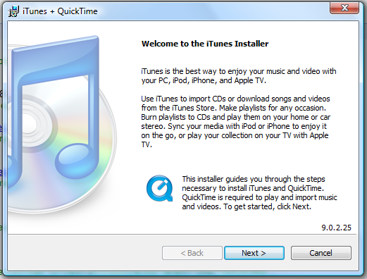 windows vista welcome itunes installer