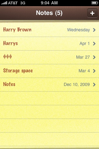 apple iphone 3gs notes app index