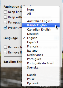 how to change the default language on word mac