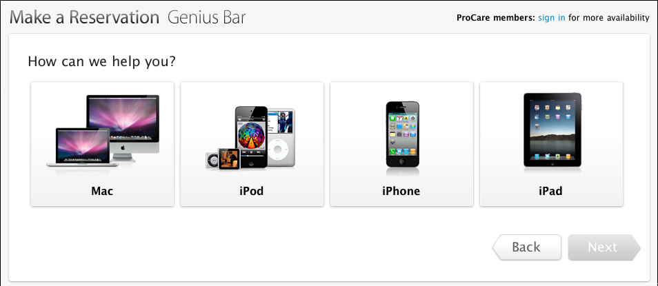 Make an appointment at genius bar apple store