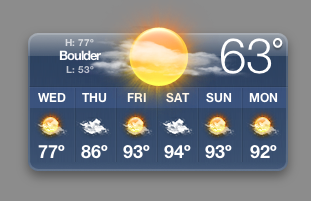 that s it while the weather widget is powered by yahoo weather it