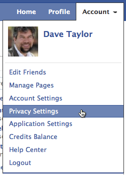 facebook account privacy settings menu