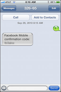 facebook add mobile iphone text message 2