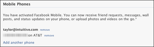how to delete cell phone number on facebook