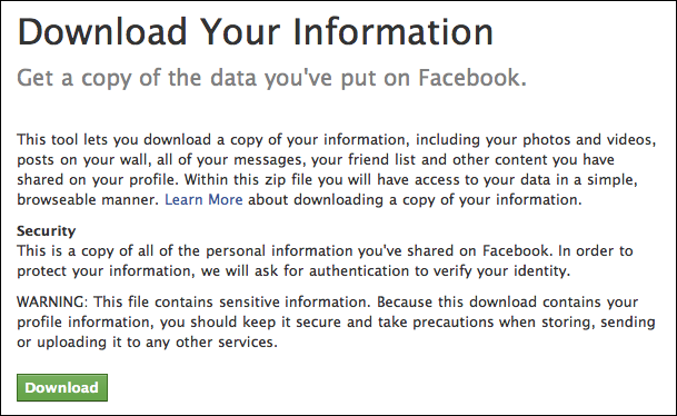 facebook download personal information 1