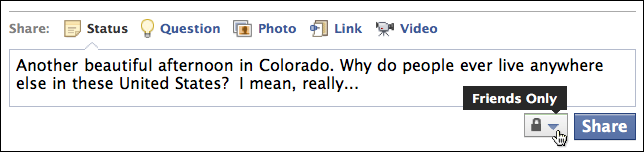 facebook status update friends only 2