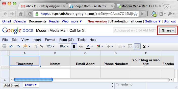 How Can I Share A Google Docs Spreadsheet Ask Dave Taylor - Google docs spreadsheet