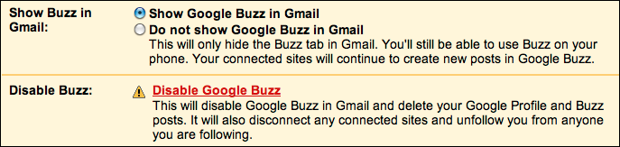 google mail gmail disable buzz