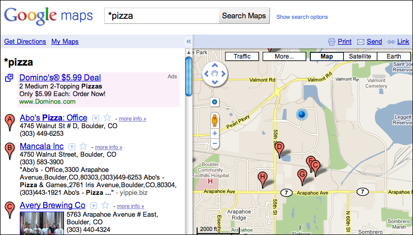 Google Maps Find Closest Pizza 4