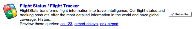 google subscribed links flight info add on