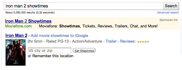 google subscribed links movie showtimes