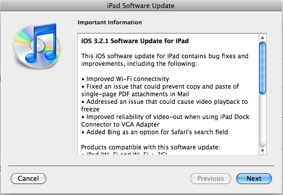 ipad firmware software update 6