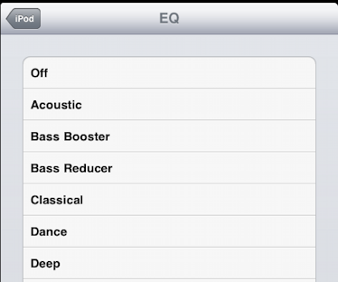 ipad ipod eq settings equalizer