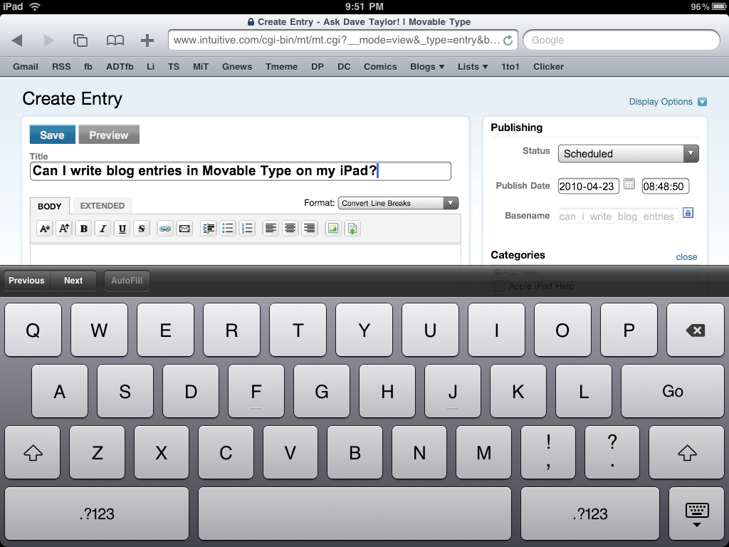 ipad movable type blogging entry blog
