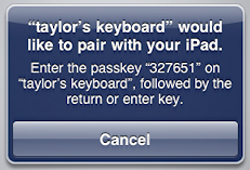 ipad pair bluetooth keyboard passkey