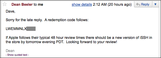ipad redemption code via email