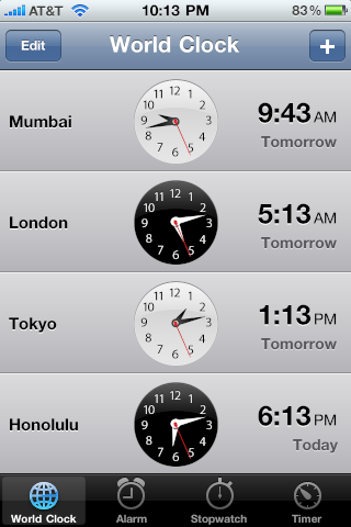 How do I add a new world clock to the Clock app on my iPhone