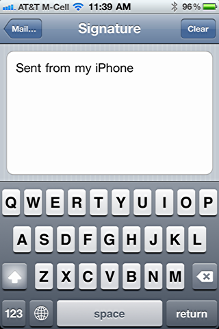 iphone change default email signature 4
